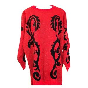 Gorgeous red and black oversized sweater